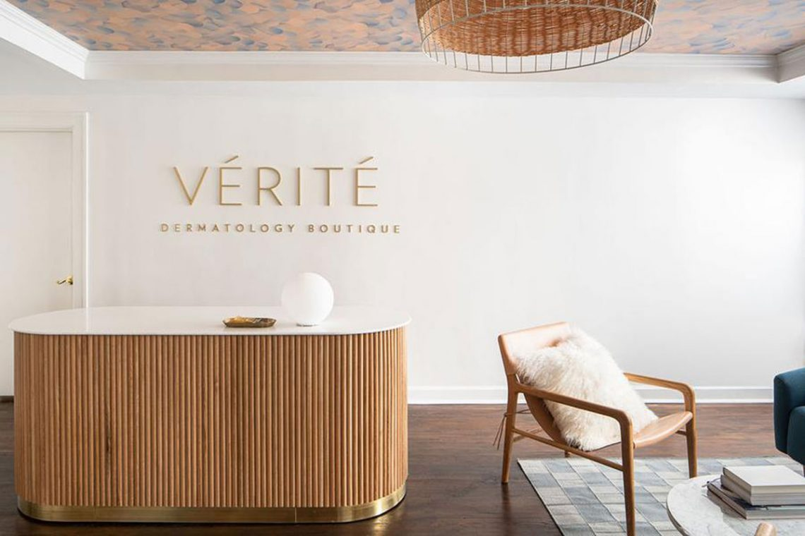 Edgework Creative: Verite Welcome Desk, photo by Marshall Evan Photography