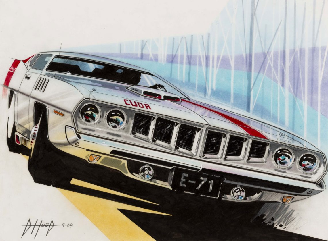 "'71 Barracuda Front End Facelift Concept,"" 1968, Donald Hood, American; crayon, gouache, ink, felt marker, prismacolor, pastel on vellum. Collection of Robert L. Edwards and Julie Hyde-Edwards."